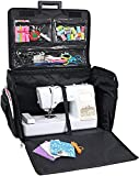 Everything Mary 4 Wheels XL Collapsible Deluxe Sewing Trolley, Black Quilted-Rolling Carrying Storage Case for Large Brother, Singer, Bernina Machines-Universal Travel Tote Bag
