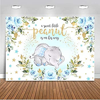 Mocsicka Baby Boy Elephant Baby Shower Backdrop Blue Floral Sweet Little Peanut is on His Way Photo Backdrops Cute Elephant Party Cake Table Photography Background  10x8ft