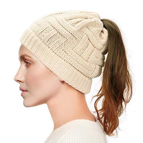 Dafunna Womens Ponytail Beanie Hat Soft Knit BeanieTail Warm Winter Hat (Black)