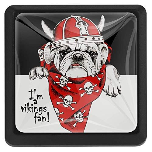 Rode schedel sjaal Bulldog lade knop Pull handvat kristal glas vierkante vorm kabinet lade trekt kasten knoppen met schroeven voor thuis kantoor kast 3 stuks