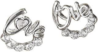🧚♀ Latest Model 1 Pair Women Lady Elegant Crystal Rhinestone Love Letter Ear Stud Earrings