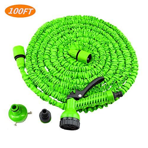 100FT Flexibler Gartenschlauch Ausgedehnt Flexischlauch Flexibler Wasserschlauch Dehnbarer Stretch Schlauch Textilschlauch Für Gartenbewässerung, Autowäsche