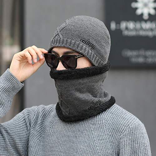 Shawujing hoed voor herfst en winter voor heren halsketting met diamantpatroon en hoed van fluweel ter bescherming van de oren, fiets, skiën, warm gebreide muts, comfortabel cadeau-idee