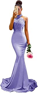Women's Halter Neck Mermaid Appliques Lace Long Bridesmaid Dress Formal Party Gown for Wedding