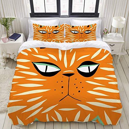 Rorun Bettbezug-Set, nahtloses buntes Muster Tiger Hand gezeichnet, buntDekoratives 3-teiliges Bettwäscheset mit 2 Kissenbezügen