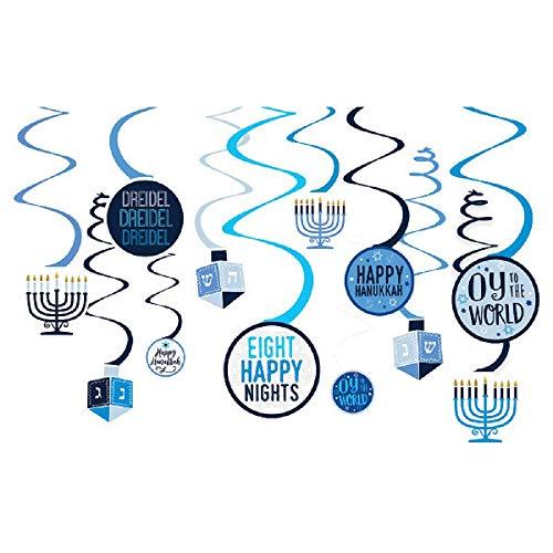 Hanukkah Assorted Swirl Cutouts - 12 Pcs.