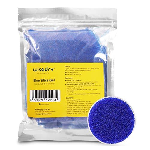 wisedry Cuentas desecantes de gel de sílice a granel con indicación de color, tamaño de las cuentas 2-4 mm, recargables (bule a rosa)