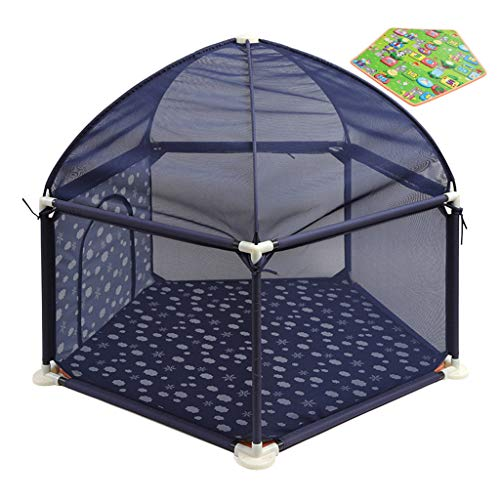 MMLI-Parcs Baby Playpen Fence Kids Safety Activity Centre Tents Infant Play Yard Play with Crawl Mat Breathable Mesh Easy to Clean Assembled,138cmx66cm (Blue)