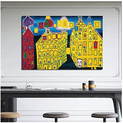 nr Hundertwasser Gemälde Gebäude Leinwand Malerei Poster Wandkunst Malerei Dekoratives Bild Wohnkultur Druck auf Leinwand -60x80cm Kein Rahmen