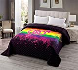 Rainbow Stripes Quilted Bedspread Coverlet King Size 90x102 inches, Gay Pride Flag Lesbian LGBT Symbols Printed Bedding, Lightweight Breathable Quilt Blanket for Spring and Summer (Color Stripe, King)
