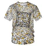 Impression De Style Cour Européenne Et Américaine T-Shirt Imprimé 3D Décontracté Graphique À Manches Courtes Tops Tee pour Hommes Et Femmes,4XL