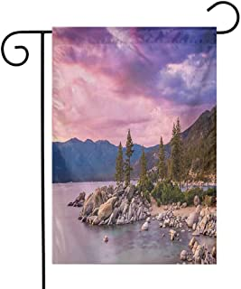 Mannwarehouse Lake Garden Flag Secret Paradise Forest by The Lake with Surreal Miraculous Clouds in The Sky Art Print Decorative Flags for Garden Yard Lawn W12 x L18 Pink Grey