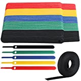 VoJoPi 100 Piezas Bridas Reutilizables, Ajustable Sujeta Cables Corbatas con 3m Nylon Gancho y Lazo Ataduras Cables, Corbatas Correa para Hogar y Oficina (5 Colores)