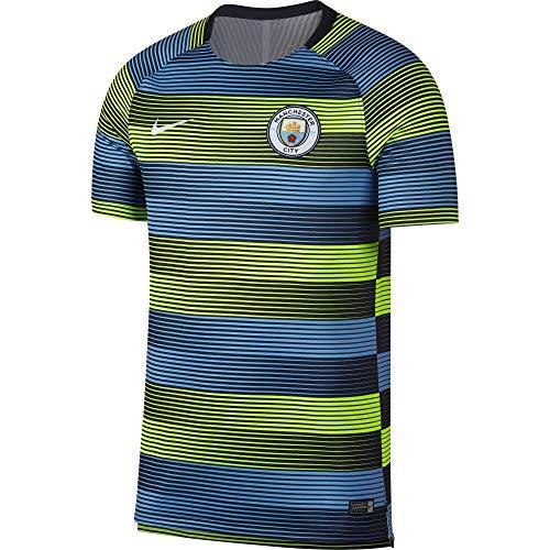 of nike soccer shirts Nike 2018-2019 Man City Pre-Match Training Football Soccer T-Shirt Jersey (Volt-Blue)