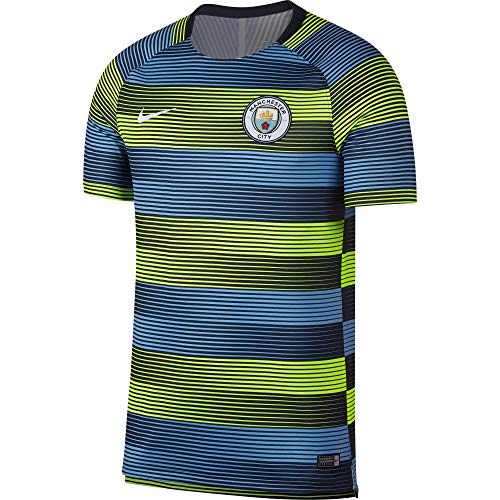NIKE 2018-2019 Man City Pre-Match Training Shirt (Volt-blue)