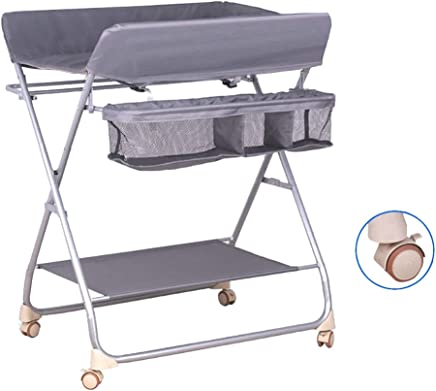 Portable Folding Baby Changing Table with Wheels  Toddler Infant Diaper Changing Station for 0-3 Years Old Baby Nursery Dresser Organizer  Color Gray
