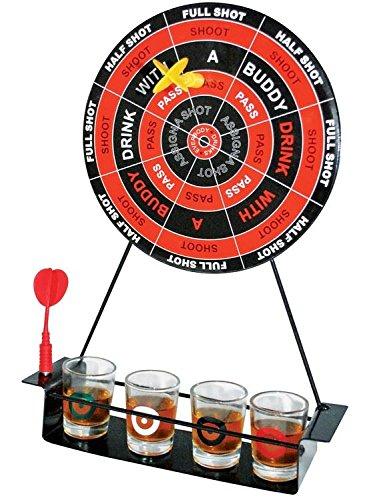 SHINE Set di Freccette per Feste con Bicchierini da Shot, Lavagna Magnetica, Nero e Rosso, 36.4 x 27.6 x 8.6 cm
