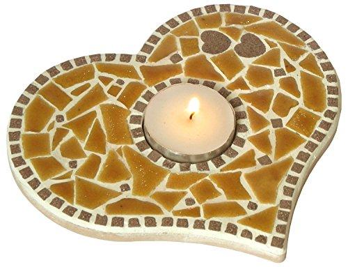 Kit mosaïque décoration bougeoir DIY Jaune-miel