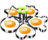 Stainless Steel Egg Pancake Mold Ring Egg Poachers Mold Rings Kitchen Utensil for Fun Creative Breakfast - 5 Piece Set (Round, Heart, Flower, Five-Pointed Star and Cartoon Logo Shaped Egg Mold Ring)