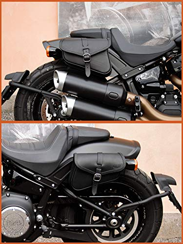 ALFORJAS Bolsos DE Cuero Laterales Izquierdo Y Derecho para Harley Davidson SOFTAIL 2018-2020 Fat Bob, Low Rider S, Street Bob, Slim, Low Rider Made IN Italy ENDSCUOIO (Costuras Negras)