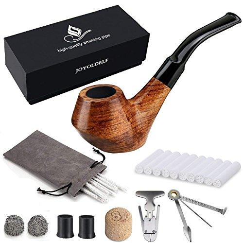 Holz Tabak Pfeife Set - Joyoldelf kreativ Holz Tabakpfeife mit Pfeifenreiniger, Pfeifenzubehör, Bonus ein Pfeifentasche mit Geschenkbox