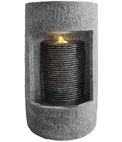 Dehner Zimmerbrunnen Keno mit LED Beleuchtung, Ø 21.5 cm, Höhe 38.5 cm, Kunststein, grau