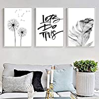 Black And White Feather Poster Dandelion Art Canvas Painting Wall Pictures For Living Room Home Decoration 50x70cmx3 Unframed