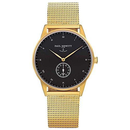 Paul Hewitt Unisex Analog Quarz Uhr mit Edelstahl beschichtet Armband PH-M1-G-B-4M