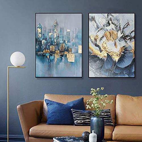 Arte abstracto del edificio de la flor dorada Pintura de la lona Cartel de la pared Cuadros modernos para la sala de estar Salón Decoración del hogar Impresiones 40x60cm (16x24in) x2 Sin marco