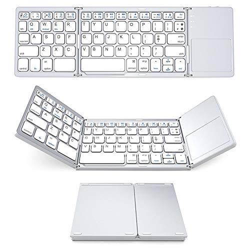 RONSHIN Electronics Accesories - Teclado ultrafino de 3 pliegues, ABS, mini teclado inalámbrico Bluetooth, teclado táctil, Windows Android blanco