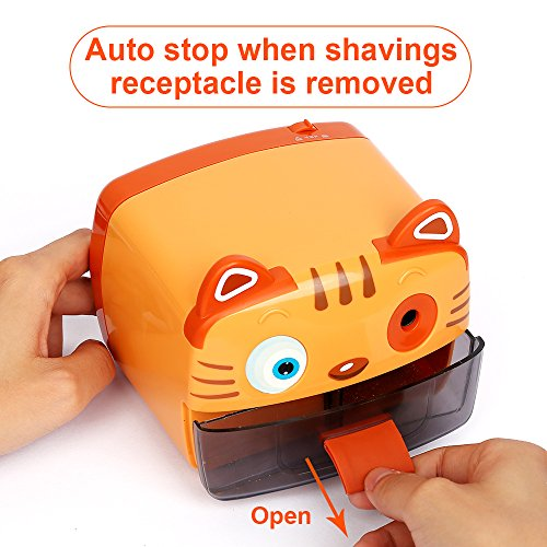 Electric Pencil Sharpener-Heavy Duty Helical Blade-Auto Stop Features For Kids, Students and Artists, Ideal for Home, School and Ofiice use, Cute, Yellow (Yellow) Photo #6