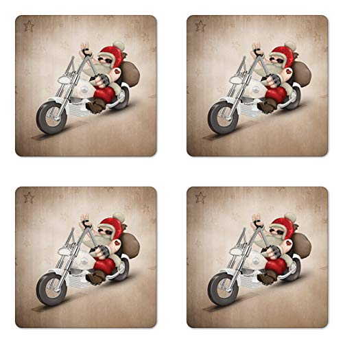 Weihnachts-Untersetzer 4er Set Rock Grunge Santa mit Herz Tattoo auf Motorrad Lieferung Bikie Peace Thema Quadratische Keramik Untersetzer für Getränke mit Korkboden Rot und Creme Weihnachtsgeschenke