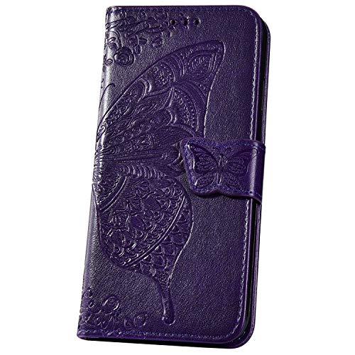 JAWSEU Compatible avec Samsung Galaxy Note 10 Coque Portefeuille PU Étui Cuir à Rabat Magnétique Mode 3D Papillon Fleur Ultra Mince Stand Leather PU Flip Wallet Case,Violet profond