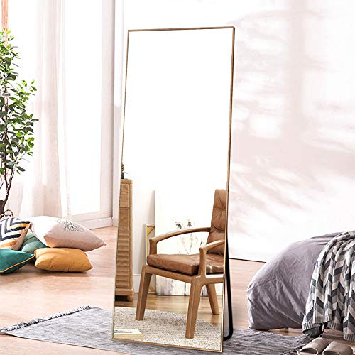 "ONXO Full Length Mirror Large Floor Mirror Standing or Wall-Mounted Mirror Dressing Mirror Frame Mirror for Living Room/Bedroom/Cloakroom (65""X22"", Gold)"