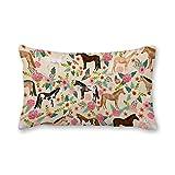 happygoluck1y - Fundas de cojín rectangulares de 30 x 50 cm, diseño de caballos de flores y animales de granja
