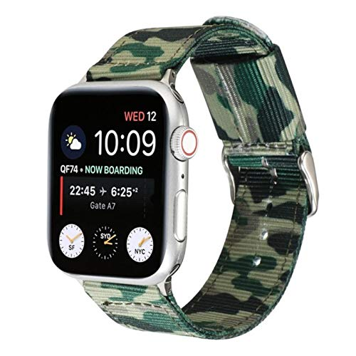 Banda de camuflaje verde militar Banda de reloj de Apple Iwatch 6 SE 5 Correa de nailon 38 mm 40 mm 42 mm 44 mm Serie 6 SE 5 4 3 21 Pulsera deportiva