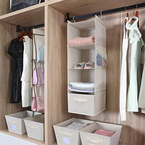 MAX Houser 4-Shelf Hanging Closet Organizer,Space Saver,Cloth Hanging Shelves with 2 Side Pockets,Foldable