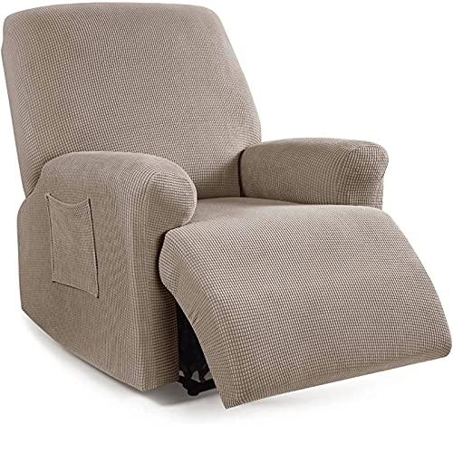 HUANXA Funda reclinable elástica Jacquard de Cuatro Piezas, Funda reclinable para de 1 plazas Fundas para Funda de sillón engrosadas Funda para sillón Antideslizante Protector Lavable para Muebles