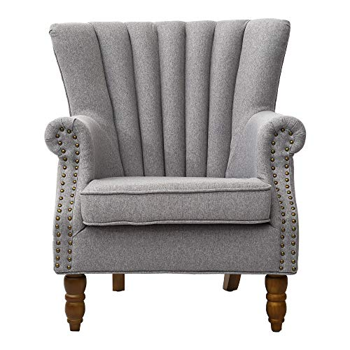 Warmiehomy Armchair Fabric Linen Fabric Accent Upholstered Chair Armchair Wing Back with Solid Wooden Legs Living Room (Grey)