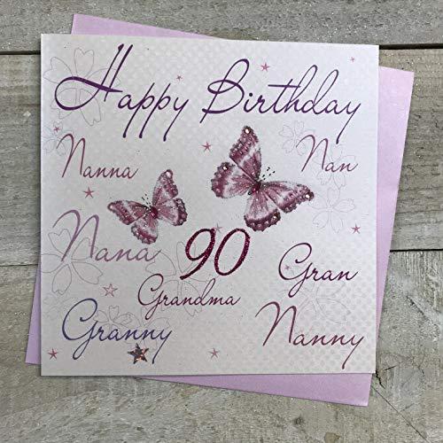 WHITE COTTON CARDS Biglietto Di Auguri Compleanno, Realizzato A Mano, Con Scritta Nanna, Nonna, Happy Birthday 90\