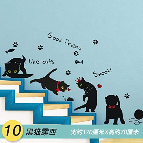 Süßes Mädchen kreative Wanddekoration Wandaufkleber Aufkleber Poster Papier-10 Black Cat Lucy_Big