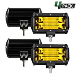 TURBO SII Led Light Bar 5 Inch 4PCS 288W Led Work Lights Waterproof S/F Combo Off Road Pod Lights Yellow Snow Driving Fog Light Lamps For Jeep Trucks ATV UTV Polaris SUV Boat Car 4WD Golf Cart