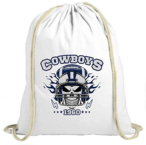 Shirt Happenz Cowboys Skull Premium Turnbeutel | American Football | Totenkopf | Football-Helm | Unisex | Gymbag, Farbe:Weiß (Gymbeutel);Größe:37cm x 46 cm