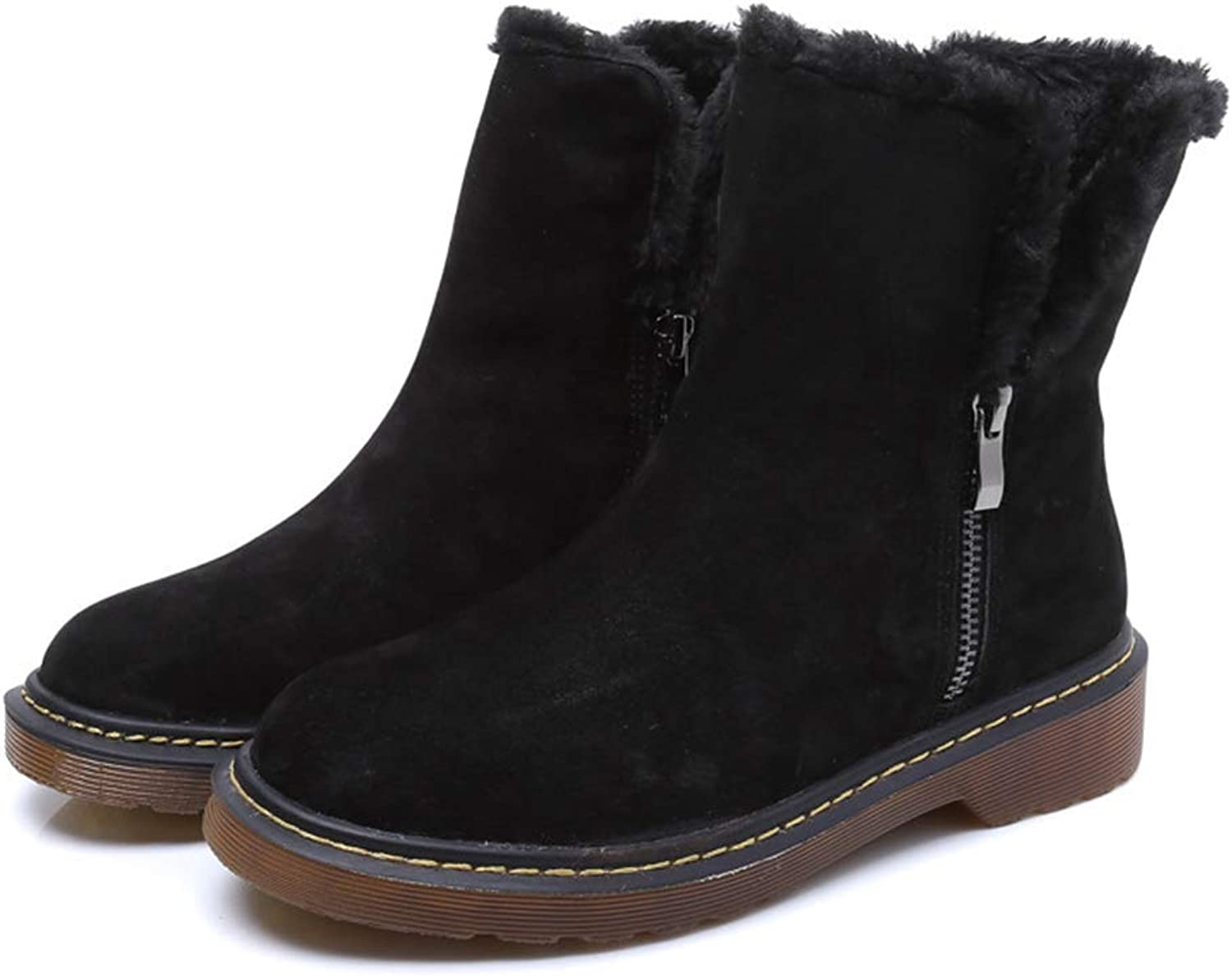 Snow Boot Ankle Faux Fur Plush Slip-on Winter Warm Black Beige Casual Outdoor Boots
