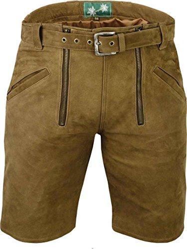 Kurze Lederhose mit gürtel- Lederhose Herren kurz inklusive gürtel echt Leder Nubuk Zunfthose in Camel, Zimmermannshose Leder, Hellbraun