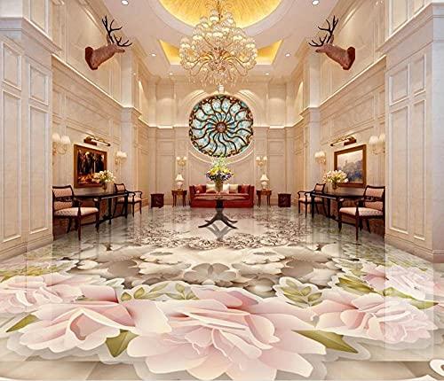 Papel pintado de la foto del suelo 3d de la moda moderna papel pintado autoadhesivo de la rosa de la mariposa baldosas 3d para la sala de estar Clubhouse-400 * 280cm
