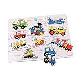 TOYMYTOY Puzzle de vehículos de Madera Rompecabezas con Letras para niños