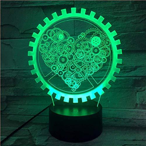 3D ilusión luz LED noche lámpara de la habitación de los niños con 3 pilas AAA lámpara de mesa celebración regalo amor Gear
