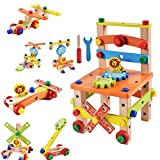 FunBlast Assembling Disassembling Wooden Multifunctional Chair with Nut and Screw Toys for Kids