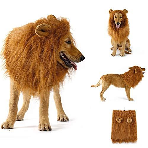 Disfraz de melena de león para perros y gatos medianos a grandes Peluca de melena de león realista realista divertida para mascotas con orejas Ropa para Halloween Fiesta de cosplay Disfraces (Light)
